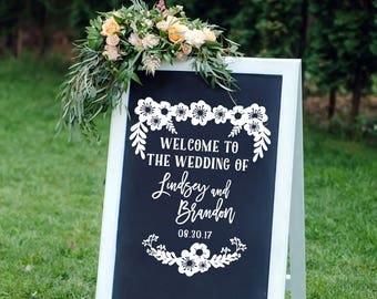 Rustic Wedding Decal Floral Wedding Decor Vintage Wedding Decor Vinyl Decal Personalized Chalkboard Decal Mr Mrs Decal DIY Wedding Decal