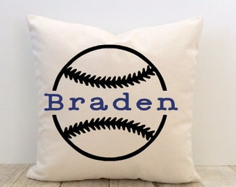 Personalized Pillow Cover, Custom Baseball Sports for a Boy