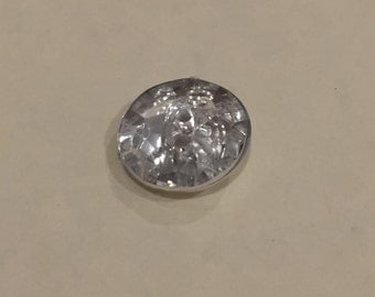 Large multi faceted round sparkly button, pack of 10. 15mm.