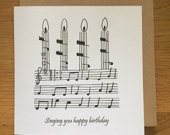 Birthday card, happy birthday card, music, singing, choir