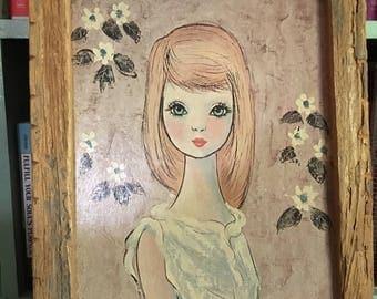 1960s Big Eye Waif Print Candy by Goddard in Rustic Boho Wood Frame.