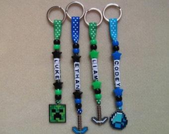Personalised Keyring bag tag Bagtag MInecraft Creeper Diamond Pick