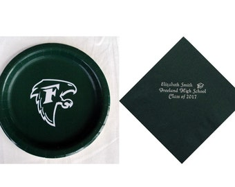 Freeland High School Logo Plates, Freeland Falcons Personalized Graduation Napkins, Falcons Logo, Freeland High School Logo, Freeland Grad