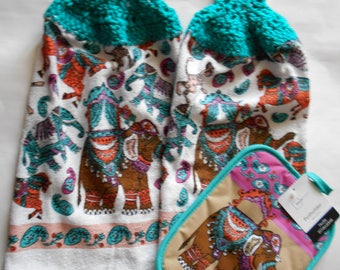 Set of 2 Teal and Pink Paisley Design Hanging Kitchen Towels with Crocheted Tops and Matching Pot Holder