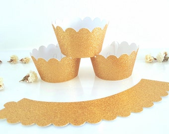 Gold cupcake wrappers,Glitter cupcake wrappers,Wedding cupcake wrappers,40th Birthday party decor,Pink cupcake wrappers,Bridal shower