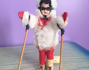 Carlson Doll - Girl Doll with Skis - AMERICAN INDIAN DOLL - No. 8-88 - Carlson Manufacturing Co. - 1950s Vintage