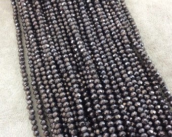 """3mm x 4mm Faceted Metallic Opaque Gunmetal Chinese Crystal Rondelle Shaped Beads - Sold by 17"""" Strands (Approx. 131 Beads) - (CC34-111)"""