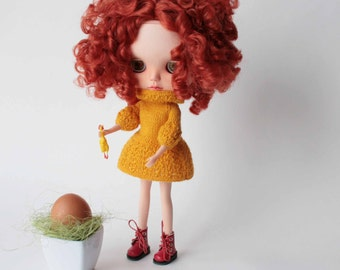 Blythe dress, Handknitted Yellow short dress for Blythe doll, Romantic yellow dress for 12 inch doll,Blythe outfit, 12 inch doll fashion