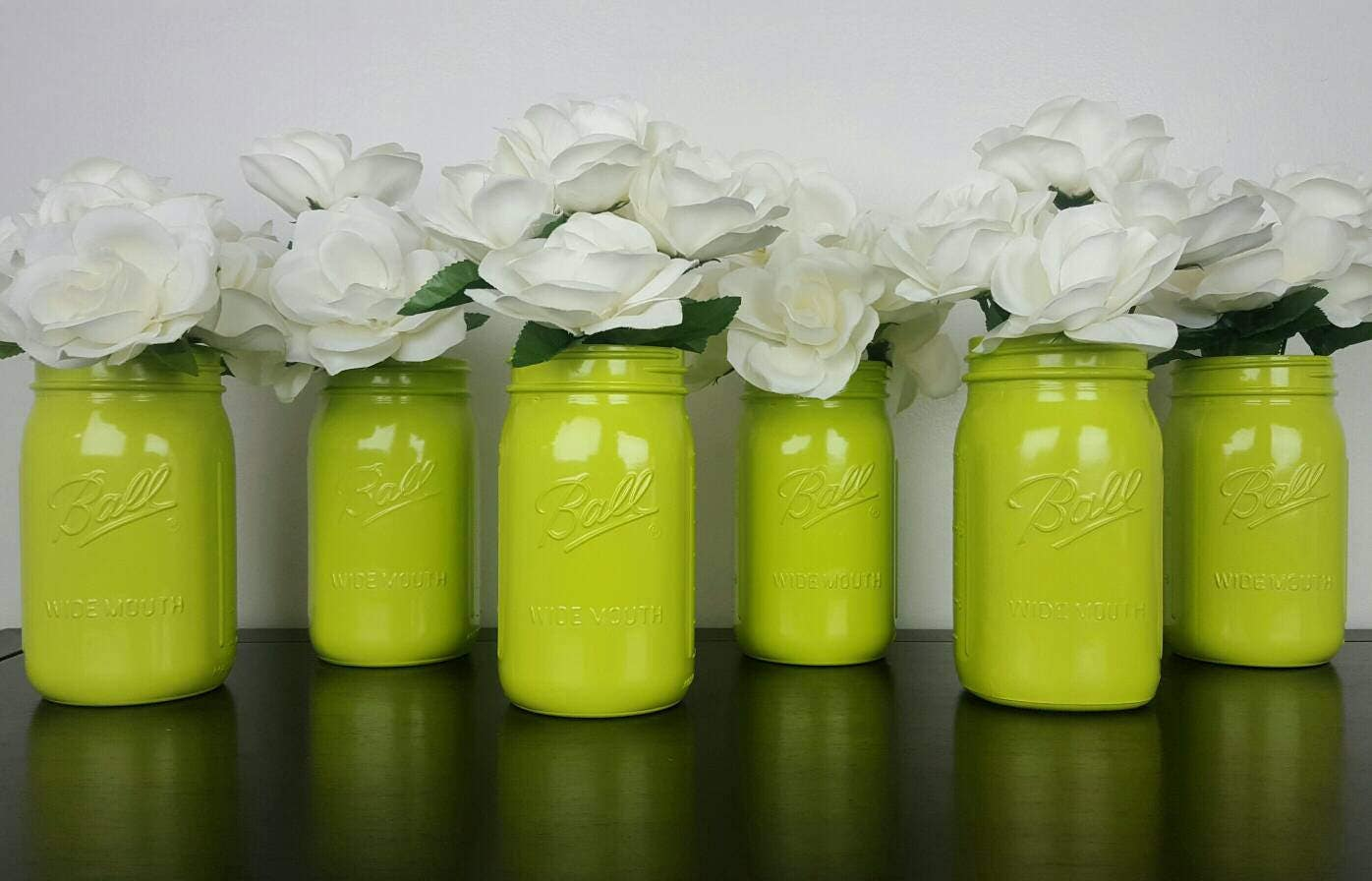 Mason Jar Centerpieces Lot Lime Green Wedding Decor Decorations Modern Bride Glass Center Piece Jars Mid