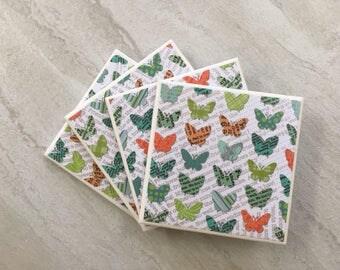 Ceramic Coasters, Tile Coasters, Coaster Set, Tile Coaster, Coasters, Handmade Coasters, Set of 4 Coasters, Drinks Coasters, Drink Coasters