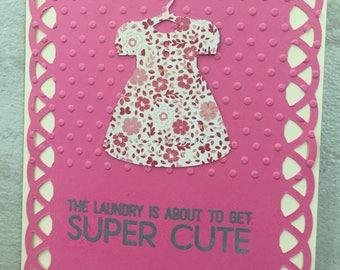 Baby Card, Baby Girl Card, Pink Card, Handmade Card, Handmade Card, Baby, Baby Girl, Newborn