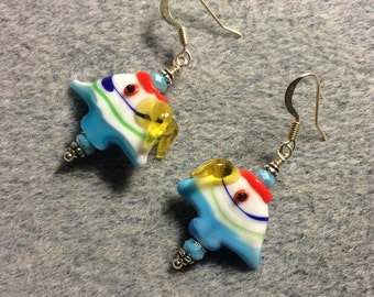 Blue, yellow and red lampwork angelfish bead earrings adorned with blue Chinese crystal beads.