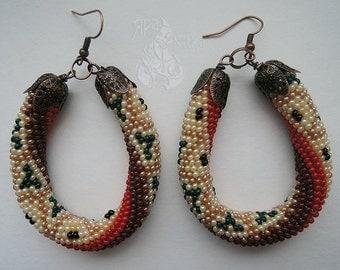 Boho earrings Seed bead earrings Large earrings Statement earrings Ethnic Gypsy earrings Women earrings Valentine's day gift Gift for her