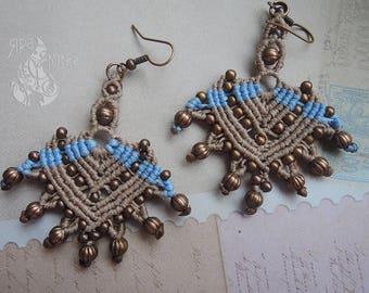 Boho earrings Statement earrings Macrame earrings Long dangle earrings Gypsy earrings Gift for her Tribal earrings Large earrings