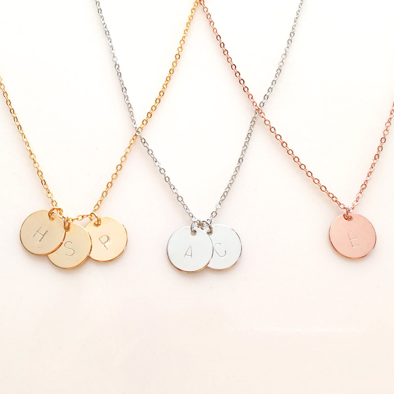 Monogram necklace rose gold initial necklace by for Rose gold personalized jewelry