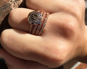 Monogram Stacklable Ring in Rose Gold over Sterling Silver-Monogrammed Stackable Ring-Engraved Stackable Ring-Fast Shipping