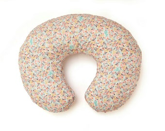 Boppy Cover | Mint Coral and Gold Floral Boppy | Baby Girl Boppy Slipcover | Nursing Pillow | Coral Baby Bedding | Custom Boppy Cover