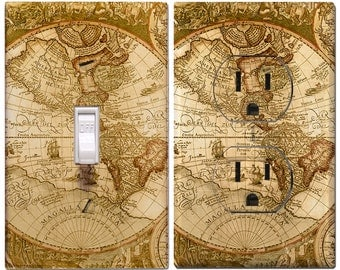 Old World Map Light Switch Cover