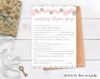 pink and grey nursery rhyme quiz pompom baby shower game pink and grey baby