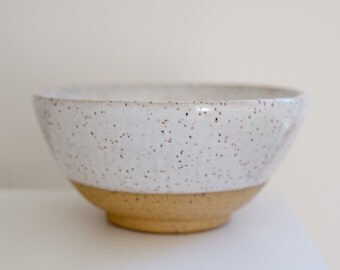 Unique White Speckled Bowl,  Wheel Thrown Ceramic Bowl, Soup bowl, Ice cream bowl, Cereal bowl