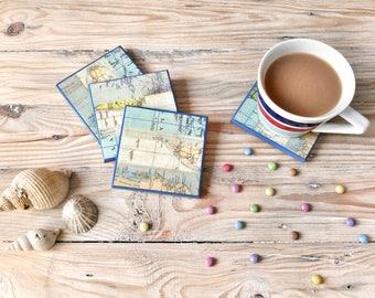 Map Coasters | Nautical Coasters | Seaside Drinks Mats | Gift for Traveller | Wedding Gift | Nautical Barware | Hostess Gift | Map Decor