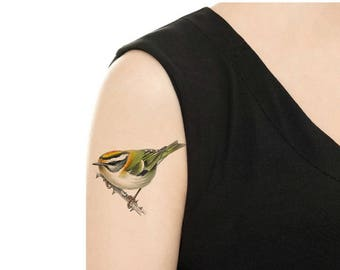 Temporary Tattoo -  Watercolor Green Bird  - Various Patterns