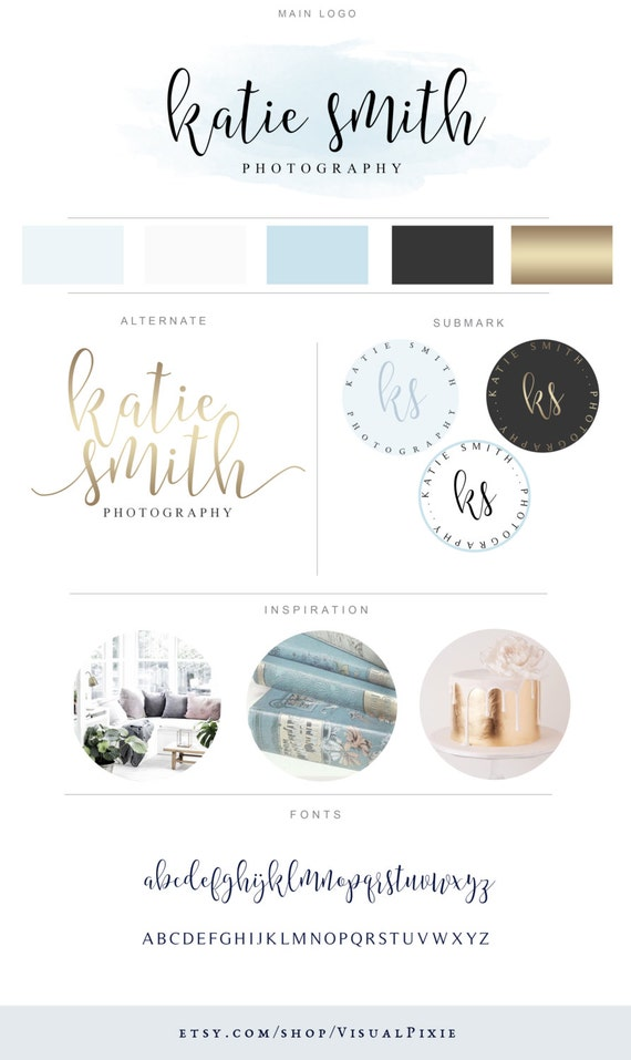 Branding Package - Blue Gold Minimalist Logo Design - Modern Photography  Logo Watermark - Fashion Blog Boutique Graphic Premade Branding Kit