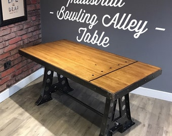 Industrial Bowling Alley Dining Table / Desk - Handmade - Can be Customised