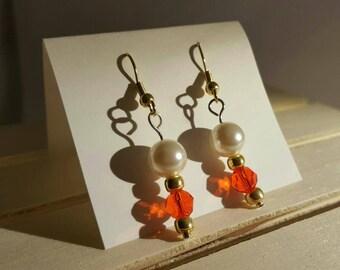 Red Swarovski and pearl dangle earrings