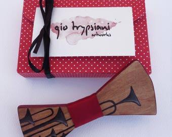 Handmade Wooden Bow Tie - Jazz Trumpets