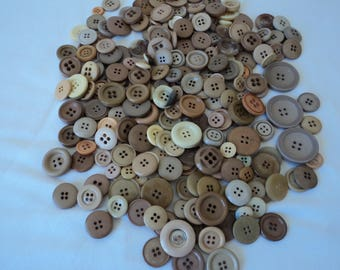 French vintage beige assorted craft buttons - apx 240 buttons (04651)