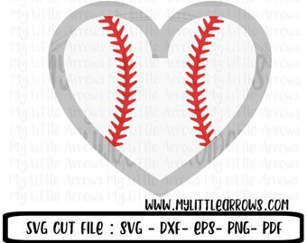 Baseball heart SVG, DXF, EPS, png Files for Cutting Machines Cameo or Cricut - baseball sibling svg - baseball sister svg - baseball mom svg