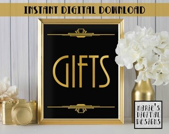 INSTANT DOWNLOAD - Printable Gifts Sign / Wedding Decor / Party / Birthday / Great Gatsby / Gold Black / Art Deco JPEG file 5x7 8x10