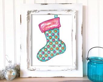 Christmas Art Print. Christmas Stocking Art. Holiday Art Print. Watercolor Print. Whimsical Christmas Art. Holiday Art Print. Holiday Decor.