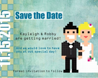 Pixel Love Save the Date card / Wedding Invitation