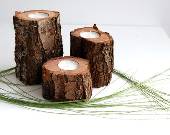 Tree Branch Candleholders Set Of 3, Wooden Tealight Holders, Hygge Decor, Rustic Home Decor, Wood Candles, Cherry-tree Branch Candle Holders