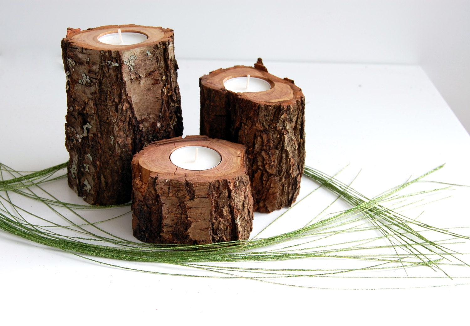 Tree Branch Candleholders Set Of 3 Wooden Tealight Holders Hygge Decor Rustic Home