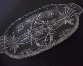 Anchor Hocking cut glass divided relish dish