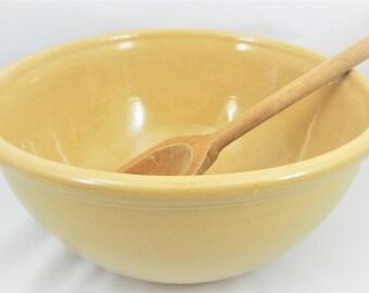 Yellowware Mixing Bowl, Large Stoneware Bowl, Butterscotch Glazed Bowl