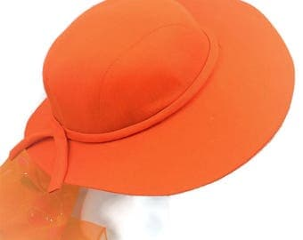 Tapered Wide Brim Orange Linen Hat, Spring and Summer Hat