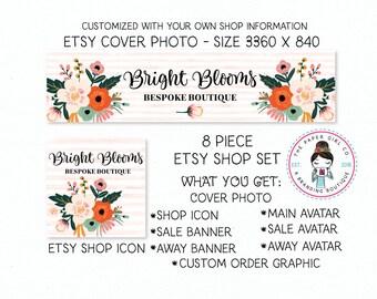 etsy shop banner set flower shop set premade shop set branding for etsy boutique shop set bridal shop set etsy shop branding shop icon
