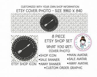 arrow etsy set chalkboard etsy set premade etsy set branding for etsy shop icon shop banner etsy shop branding boho shop set tribal etsy set