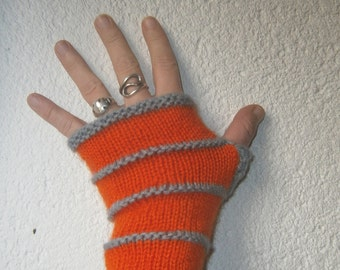 On order: Orange and grey hand made wool, knitted mittens without sewing