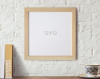 12x12 Picture Frame Natural Wood Frame, Square Frame, Scrapbook frame, Art Frames, Photo Frame, Craft Frames, Wedding, Gallery Wall frame