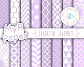"SALE 50% Lilac Digital Paper: ""Shades of Lavender"" Digital Paper Pack & Backgrounds with Chevron, Damask, Triangles, Stripes and Polka Dots"