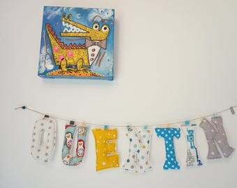 Garland name, Garland of fabric, first name in fabric letter, child birth, decoration room gift, personalized gift child