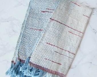 Set of 2 cloth napkins, indigo fabric, kitchen linens, woven napkins, handwoven fabric // CORAL NAPKIN SET // kitchen decor, cotton napkins