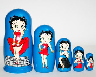 Nesting doll Betty Boop for kids signed matryoshka russian dolls