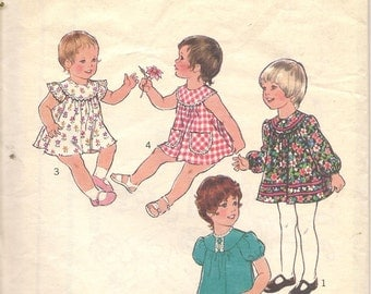 70s Vintage Style Sewing Pattern 1106 Toddlers Dress Size 2 Breast 53