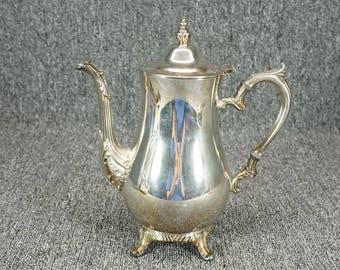 "International Silver Co. Footed Handled Silverplate Tea Pot W/ Lid 10"""